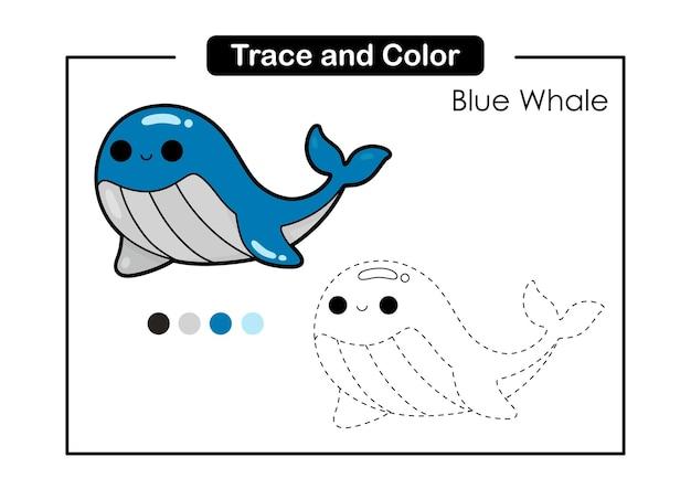 Traceer en kleur bakhandschoen educatief spel voor kinderen blue whale