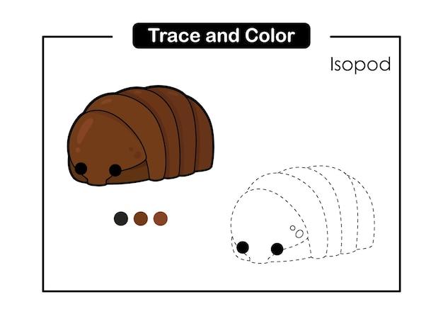 Traceer en kleur bakhandschoen educatief spel voor kinderen isopod
