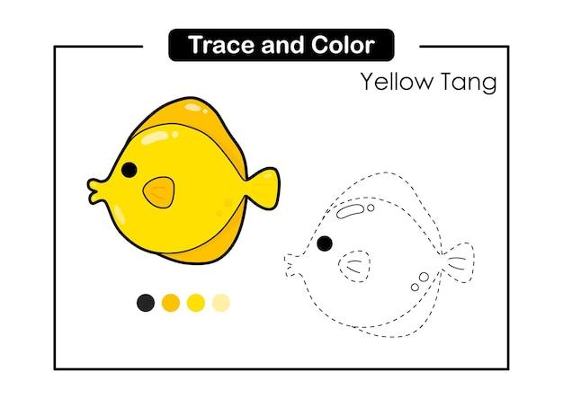 Traceer en kleur bakhandschoen educatief spel voor kinderen yellow tang