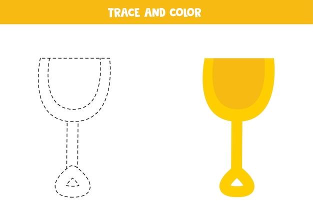 Traceer en kleur cartoon gele schop. educatief spel voor kinderen. schrijven en kleuren oefenen.