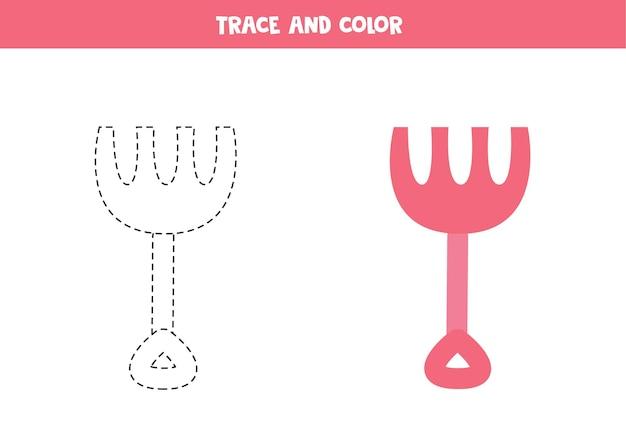 Traceer en kleur cartoon onderwaterhark. educatief spel voor kinderen. schrijven en kleuren oefenen.