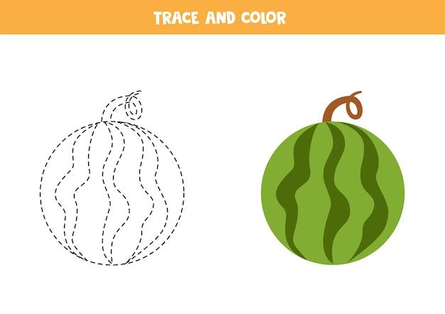 Traceer en kleur cartoon ronde watermeloen. educatief spel voor kinderen. schrijven en kleuren oefenen.