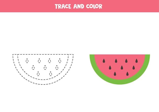 Traceer en kleur cartoon watermeloen. educatief spel voor kinderen. schrijven en kleuren oefenen.