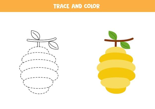 Traceer en kleur de bijenkorf. educatief spel voor kinderen. schrijf- en kleuroefening.