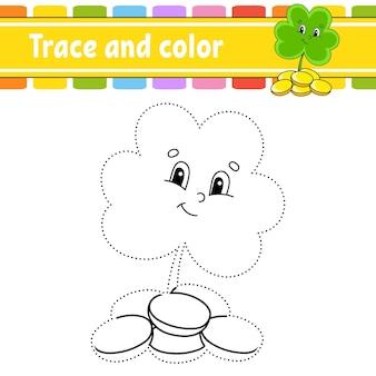 Traceer en kleur kleurplaat voor kinderen handschriftoefening st patricks day