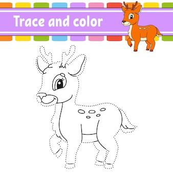 Traceer en kleur kleurplaat voor kinderen handschriftoefening