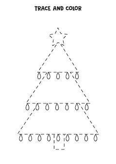 Traceer en kleur schattige kerstboom. werkblad voor kinderen.