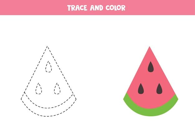 Traceer en kleur schattige watermeloenplak. educatief spel voor kinderen. schrijven en kleuren oefenen.