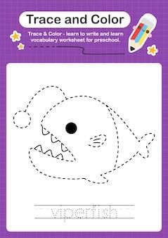 Traceer en kleur sealife educatief spel voor kinderen