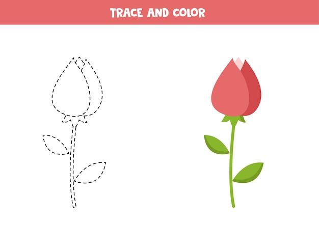 Traceer en kleur valentijn roze bloem