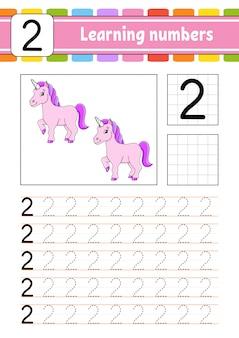 Traceer en schrijf. handschrift praktijk. getallen leren voor kinderen.