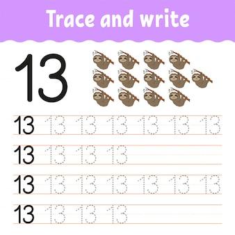 Traceer en schrijf. handschrift praktijk.