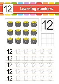 Traceer en schrijf nummers. handschrift oefenen. getallen leren voor kinderen