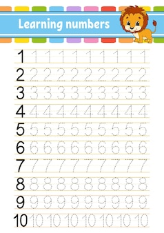 Traceer en schrijf nummers. handschrift oefenen.