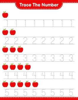 Traceer het nummer. opsporingsnummer met apple. educatief kinderspel, afdrukbaar werkblad