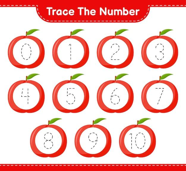 Traceer het nummer. opsporingsnummer met nectarine. educatief kinderspel, afdrukbaar werkblad