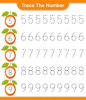 Traceer het nummer. opsporingsnummer met ximenia. educatief kinderspel, afdrukbaar werkblad