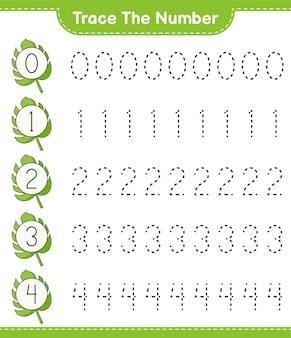 Traceer het nummer traceernummer met monstera educatief kinderspel afdrukbaar werkblad