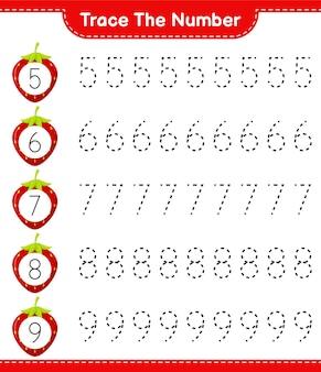 Traceer het nummer. traceringsnummer met aardbei. educatief kinderspel, afdrukbaar werkblad