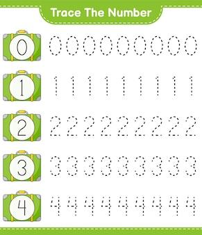 Traceer het nummer traceringsnummer met bagage educatief kinderspel afdrukbaar werkblad