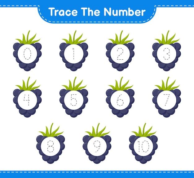 Traceer het nummer. traceringsnummer met bramen. educatief kinderspel, afdrukbaar werkblad