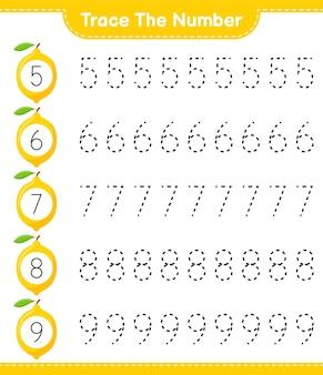 Traceer het nummer. traceringsnummer met citroen. educatief kinderspel, afdrukbaar werkblad