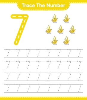 Traceer het nummer traceringsnummer met coral educatief kinderspel afdrukbaar werkblad