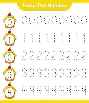 Traceer het nummer traceringsnummer met cup cake educatief kinderspel afdrukbaar werkblad