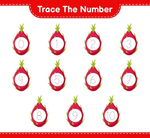 Traceer het nummer. traceringsnummer met dragon fruit. educatief kinderspel, afdrukbaar werkblad