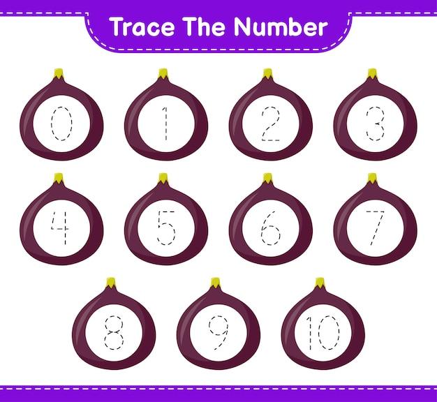 Traceer het nummer. traceringsnummer met fig. educatief spel voor kinderen, afdrukbaar werkblad