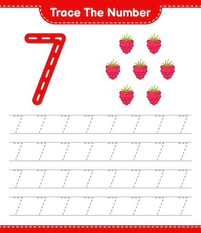 Traceer het nummer. traceringsnummer met frambozen. educatief kinderspel, afdrukbaar werkblad