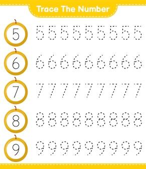 Traceer het nummer. traceringsnummer met honingmeloen. educatief kinderspel, afdrukbaar werkblad
