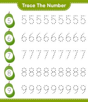 Traceer het nummer. traceringsnummer met jackfruit. educatief kinderspel, afdrukbaar werkblad