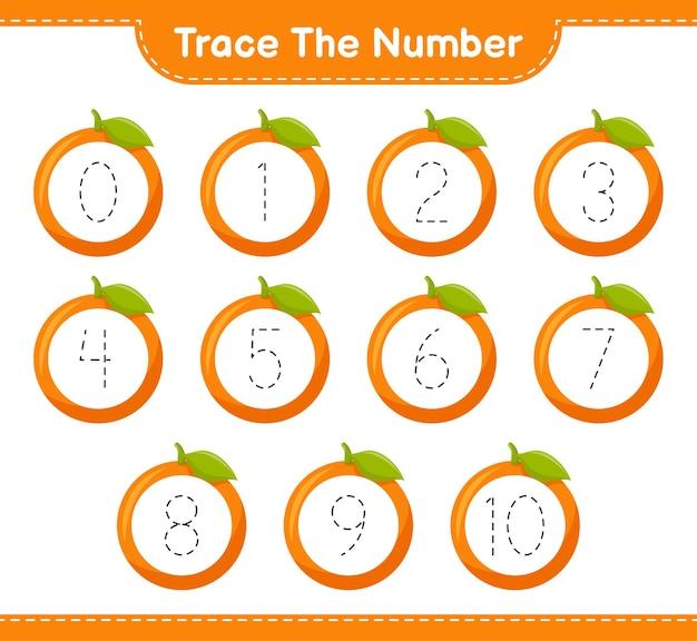 Traceer het nummer. traceringsnummer met oranje. educatief kinderspel, afdrukbaar werkblad