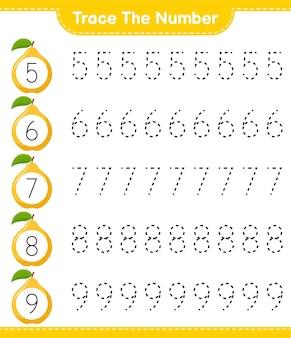 Traceer het nummer. traceringsnummer met quince. educatief kinderspel, afdrukbaar werkblad