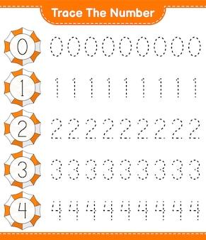 Traceer het nummer traceringsnummer met strandparaplu educatief kinderspel afdrukbaar werkblad