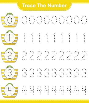 Traceer het nummer traceringsnummer met strandtas educatief kinderspel afdrukbaar werkblad