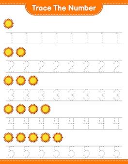 Traceer het nummer traceringsnummer met sun educatief kinderspel afdrukbaar werkblad