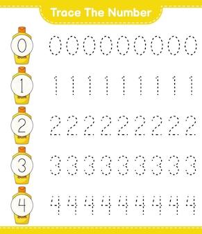Traceer het nummer traceringsnummer met sunscreen educatief werkblad voor kinderen om af te drukken