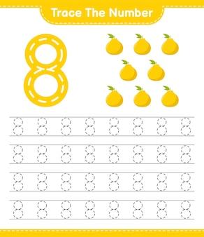 Traceer het nummer. traceringsnummer met ugli. educatief kinderspel, afdrukbaar werkblad