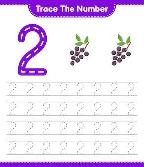 Traceer het nummer. traceringsnummer met vlierbes. educatief kinderspel, afdrukbaar werkblad