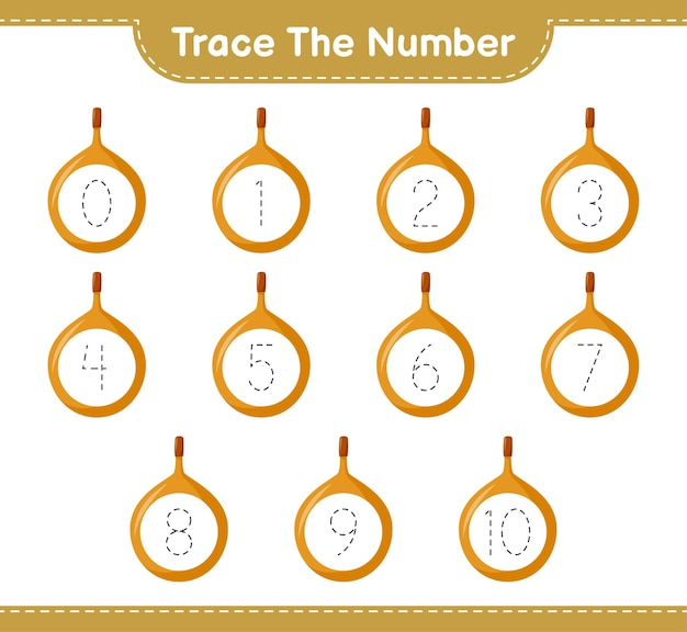Traceer het nummer. traceringsnummer met voavanga. educatief kinderspel, afdrukbaar werkblad