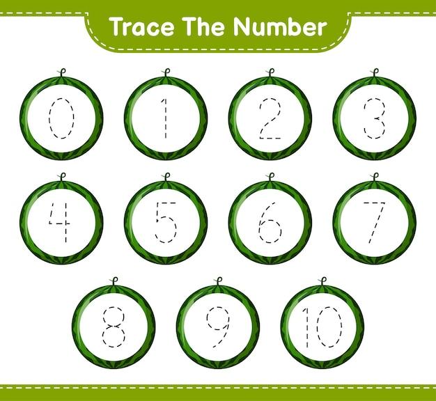 Traceer het nummer. traceringsnummer met watermeloen. educatief kinderspel, afdrukbaar werkblad
