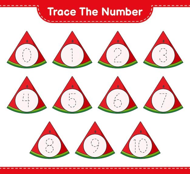 Traceer het nummer traceringsnummer met watermeloen educatief kinderspel afdrukbaar werkblad