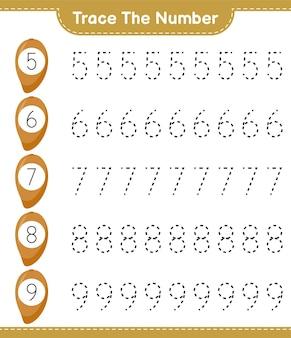 Traceer het nummer. traceringsnummer met zapote. educatief kinderspel, afdrukbaar werkblad