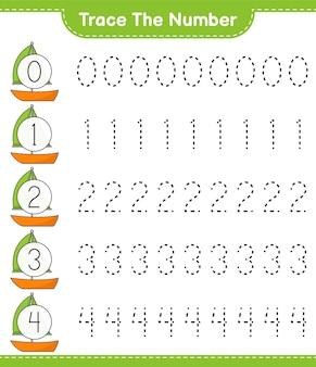 Traceer het nummer traceringsnummer met zeilboot educatief kinderspel afdrukbaar werkblad