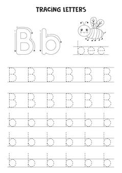 Traceer letters van het engelse alfabet. hoofdletters en kleine letter b. handschriftoefening voor kleuters.