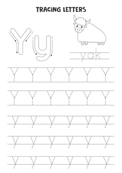 Traceer letters van het engelse alfabet. hoofdletters en kleine letters y. handschriftoefeningen voor kleuters.