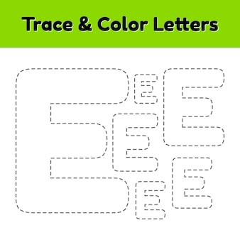 Traceer lijnbrief voor kleuterschool en voorschoolse kinderen. schrijf en kleur.