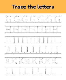 Traceer lijnletters voor kleuters en kleuters. alfabet.